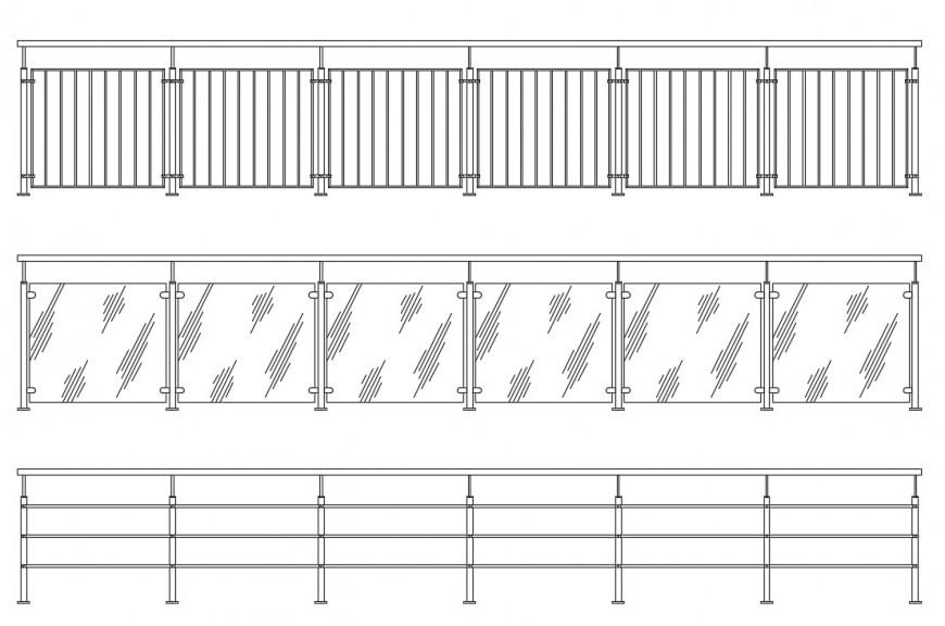 CAd drawings details of front elevation of  glass railing