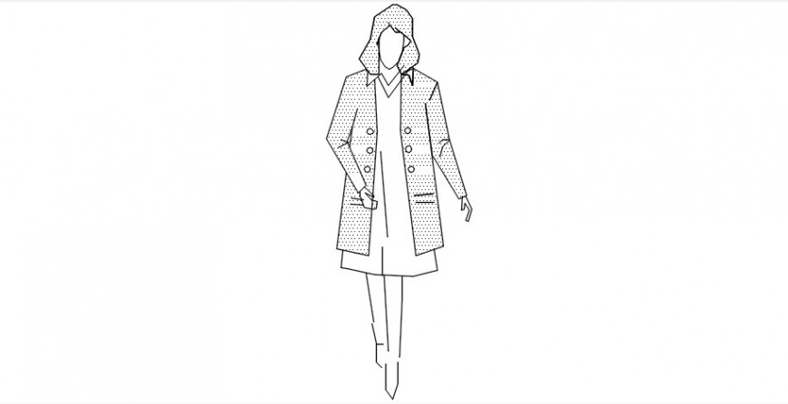Cad drawings details of front view of girl with jacket