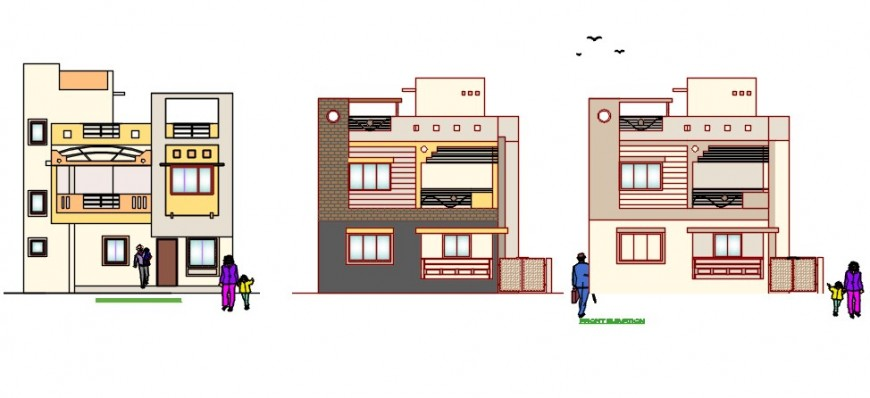 CAD drawings details of housing apartment elevation dwg file