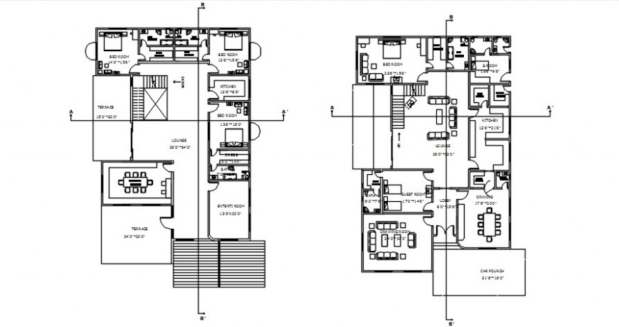 CAD drawings details of housing bungalow layout autocad software file