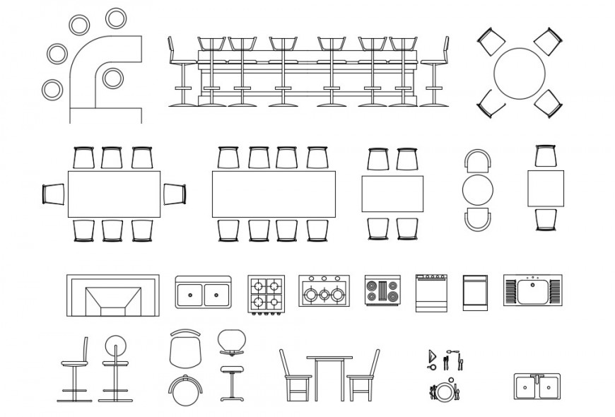 CAd drawings details of kitchen  bar dining furniture