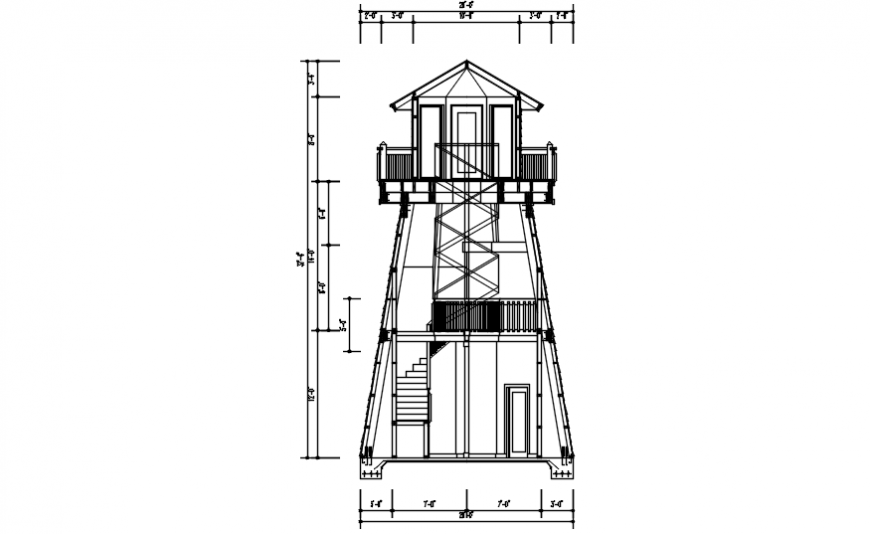 CAD drawings details of lighthouse section dwg autocad file