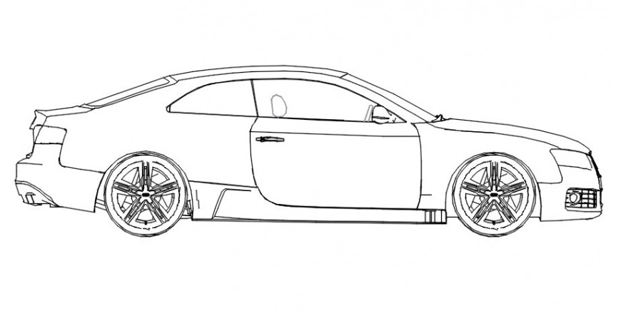Cad drawings details of long wide car