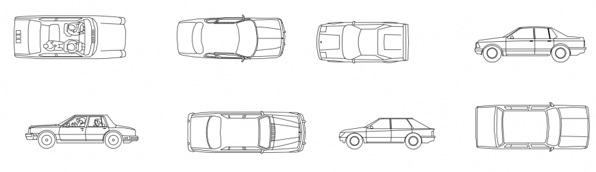 CAD drawings details of luxury cars and small cars