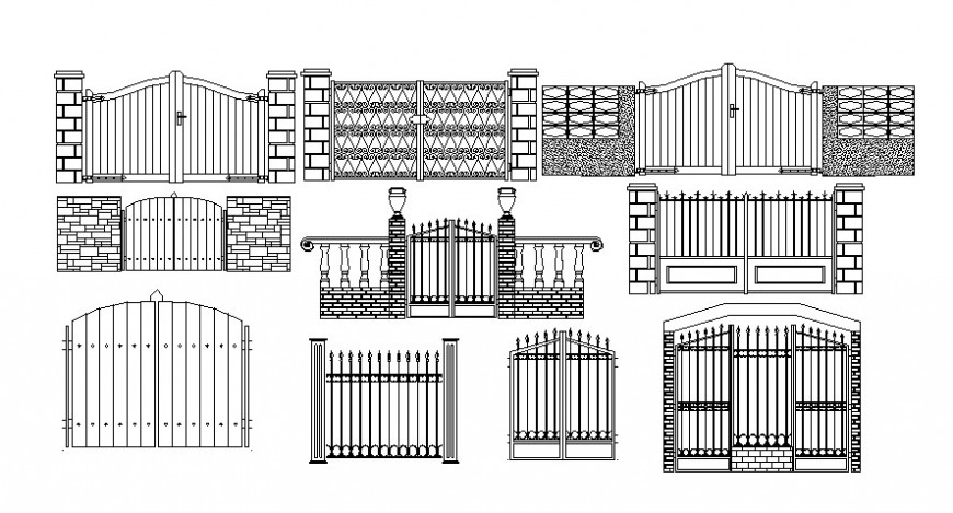 Cad drawings details of main gate design