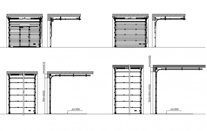 CAd drawings details of overhead door elevation with hatch area