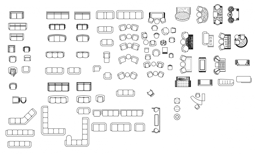 CAd drawings details of sitting seater sofa