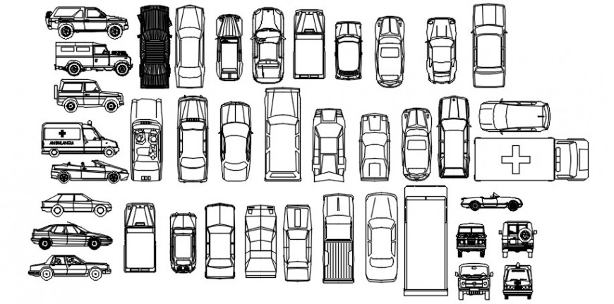Cad drawings details of small top view  jeep  cars