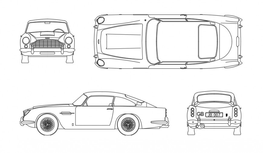 CAd drawings details of the aston martin elevation car