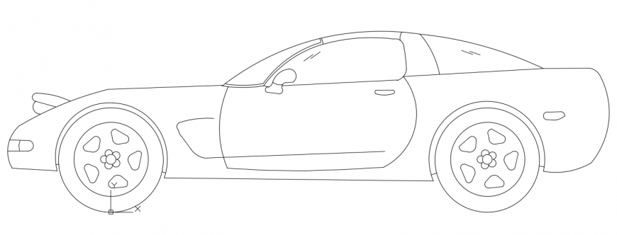 CAd drawings details of the side elevation of long car