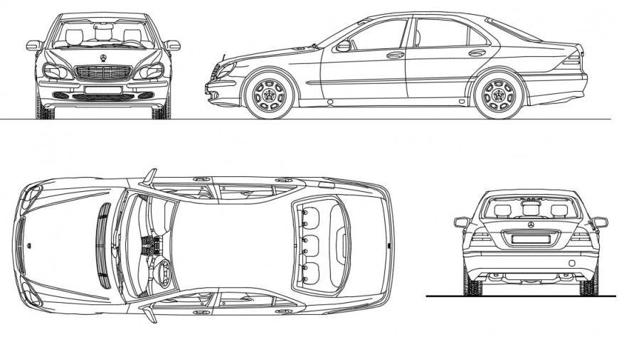 CAd drawings details of top   elevation of Mercedes  s class car