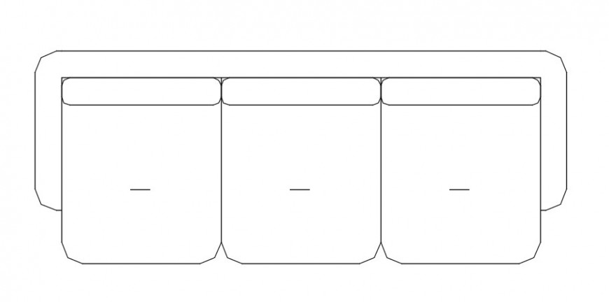 Cad drawings details of top view from front of three seater sofa with square hand rest