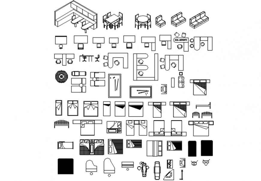 CAd drawings details of top view of furniture layout of bed,chair and dining table