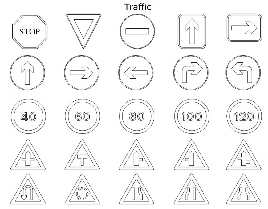 Cad drawings details of traffic signal