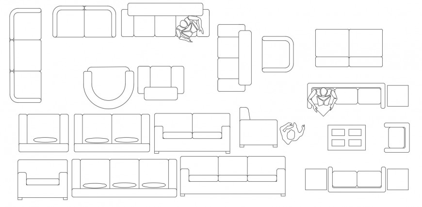 Cad drawings details of various kinds of three seater sofa
