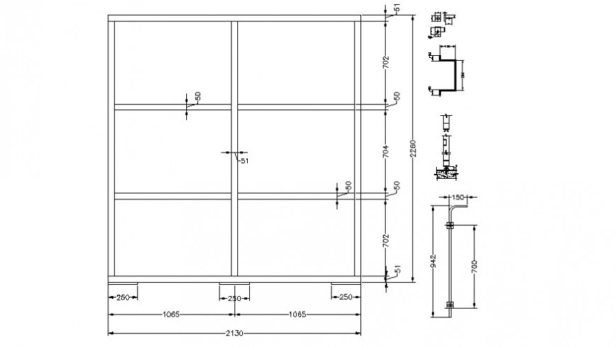 CAD drawings details of window frame design dwg file