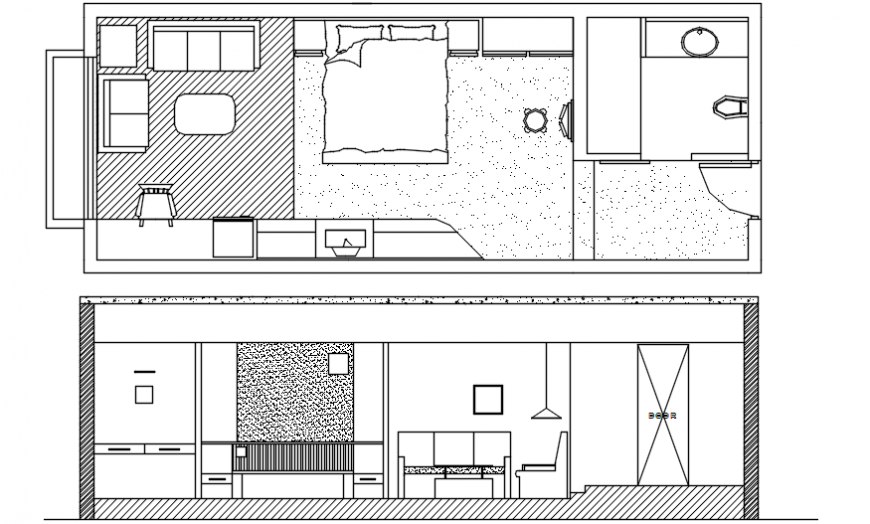 CAD drawings of bedroom plan layout elevation and plan dwg file