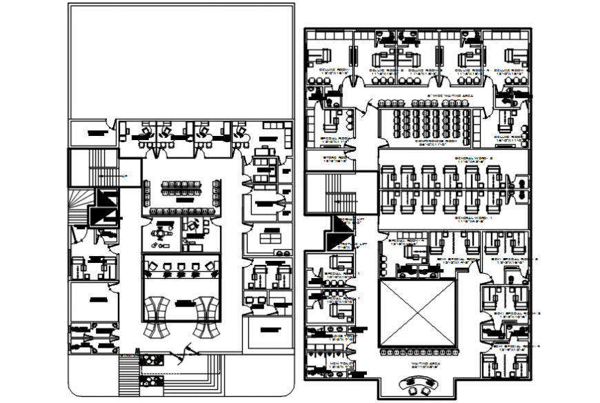 CAD drawings of hospital building layout dwg file