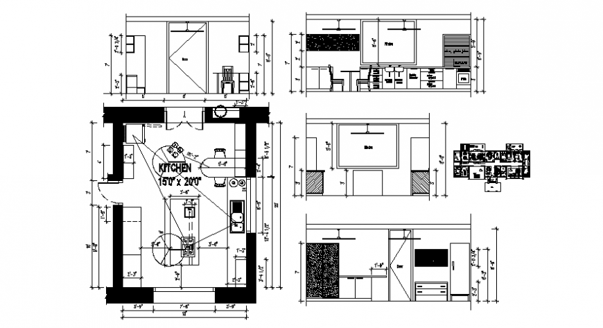 CAD Drawings of kitchen layout plan elevation dwg autocad file