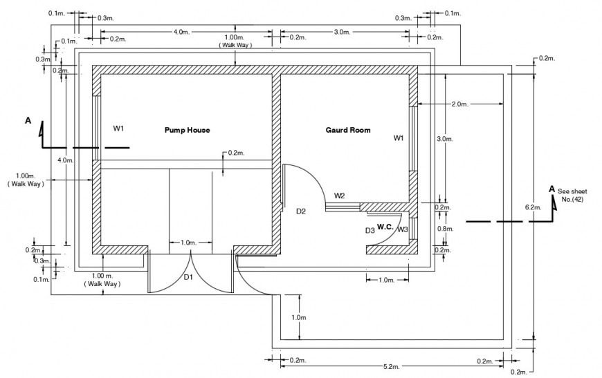 CAD drawings of pump house layout plan details in autocad file