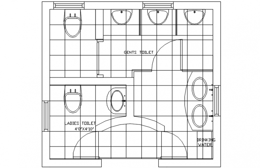 CAD drawings of sanitary toilet area 2d view layout autocad file