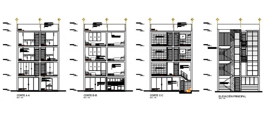 CAD elevation and sectional details of apartment 2d view Drawings dwg file