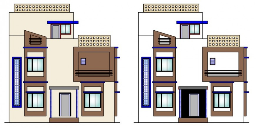 CAD elevation detailing of apartment blocks 2d view autocad file