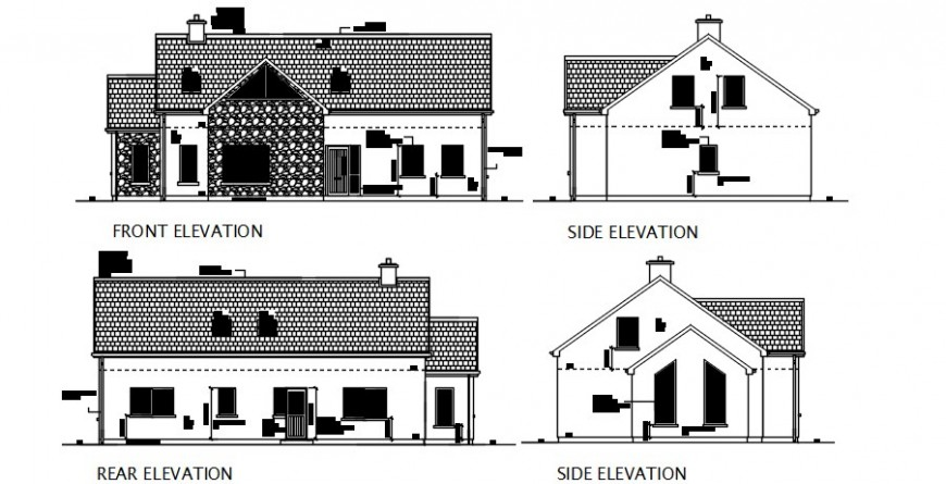 CAD elevation drawings details of house 2d view autocad file