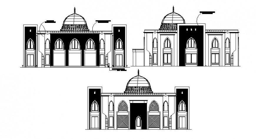 CAD elevation drawings of mosque 2d view dwg file