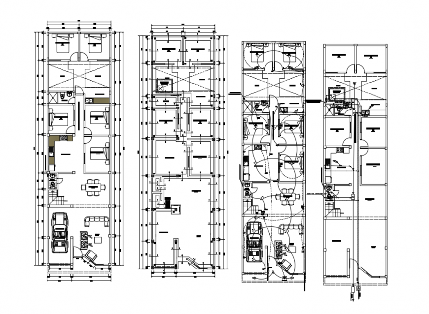 CAD floor centerline plan of residential house drawings in autocad file