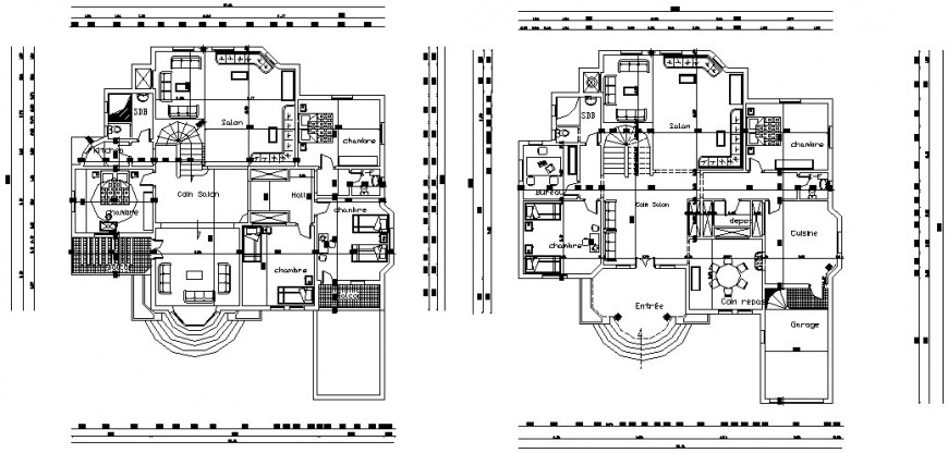 CAD floor house plan 2d view drawing dwg autocad file