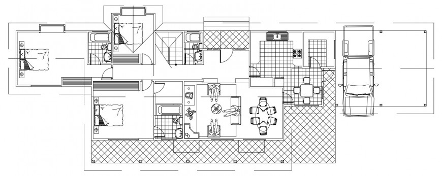 CAD floor layout plan of house 2d view autocad software file