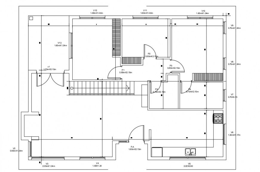 CAD floor plan of 2d house layout details in autocad file