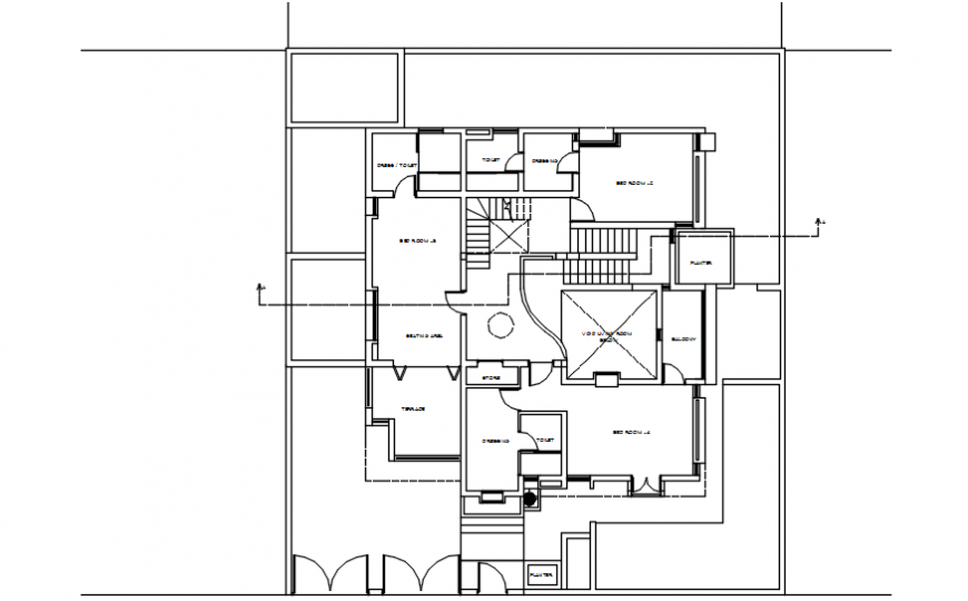 CAD floor plan of house drawings details of house 2d view dwg file