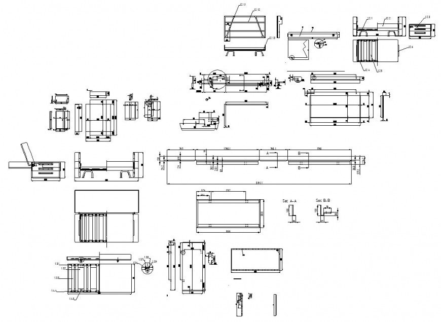 CAD Furniture blocks detail 2d view layout file in dwg format