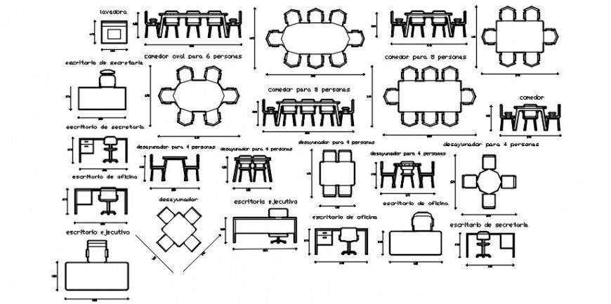CAD furniture blocks drawings details of table and chair autocad file
