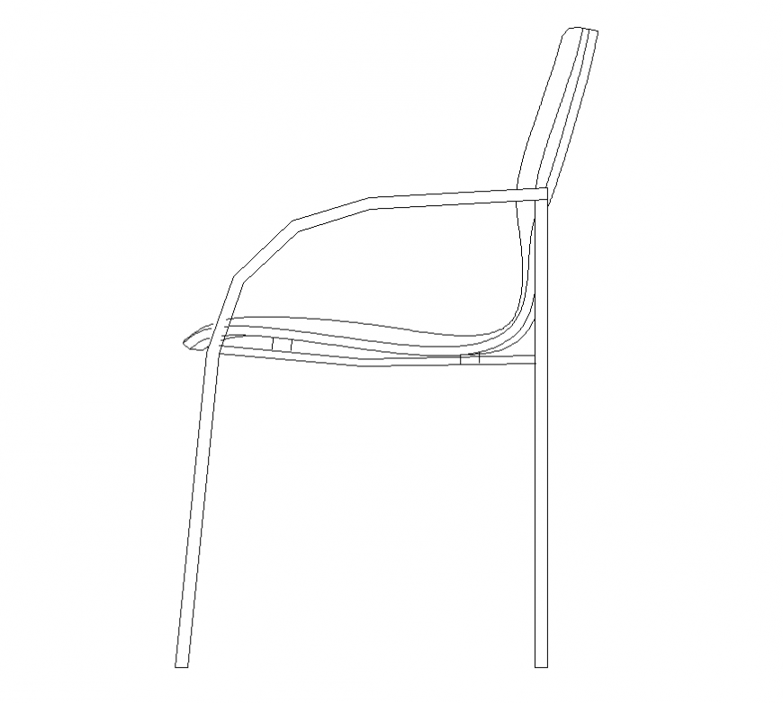 CAD furniture Chair detail 2d view elevation layout dwg file