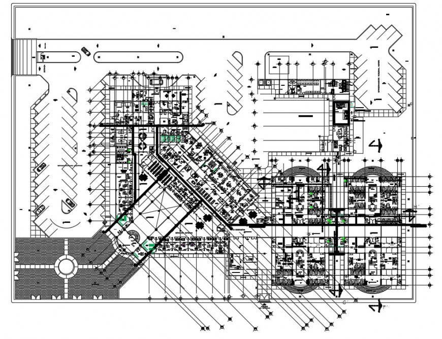 CAD hospital building 2d view plan in autocad software file