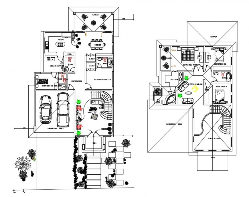 CAD house layout 2d view floor plan dwg autocad software file