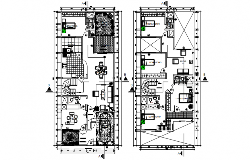 CAD layout drawings of house 2d view floor plan autocad file