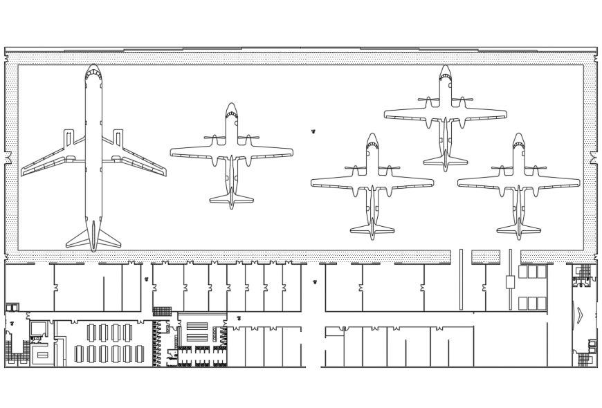 Cad layout plan details of international airport dwg file