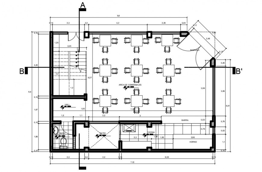 CAD layout plan of restaurant building 2d view autocad software file