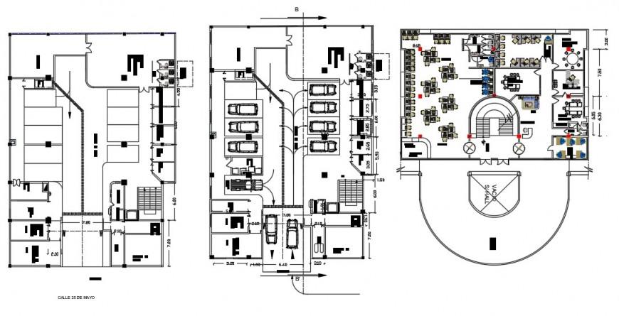 CAD plan drawings cultural building units 2d view dwg autocad file