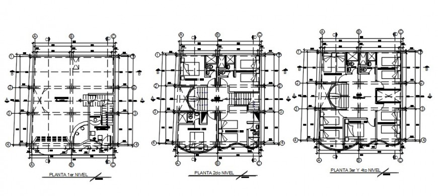 CAD plan drawings detailsof hotel building dwg file
