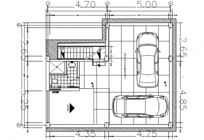 CAD plan of parking space area plan 2d view autocad software file