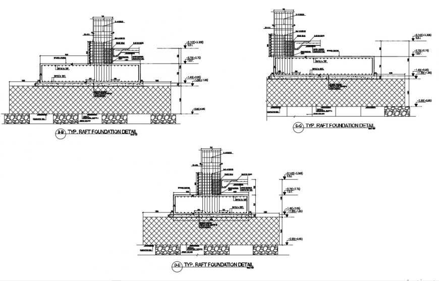 CAD RCC raft foundation footing details 2d view dwg file