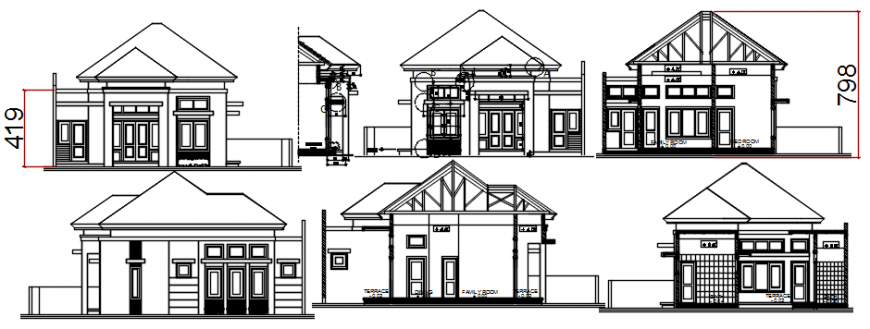 CAD sectional and elevation of apartment drawings 2d view dwg file