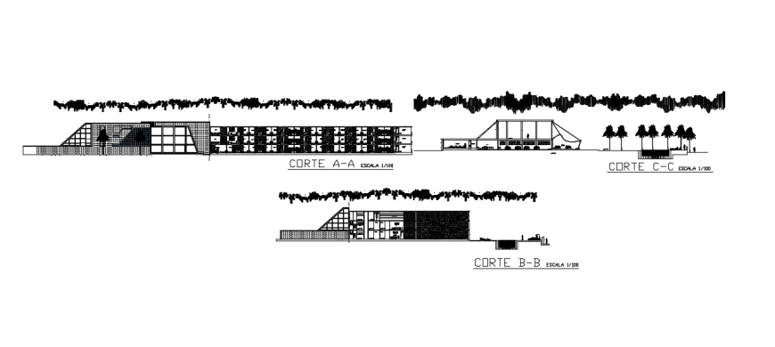 CAD sectional drawings detailing of Commercial building units dwg file