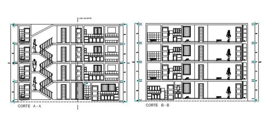 CAD sectional drawings details of apartment dwg file