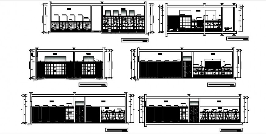 CAD Sectional drawings details of sanitary public toilet area dwg file